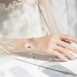 NEW 925 Sterling Silver Diamond Bar Bracelet